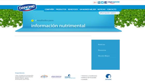 PI Dany información nutrimental inexistente