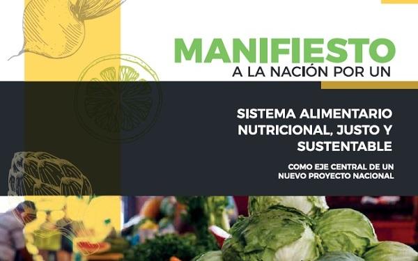 Fragmento de la la portada del Manifiesto a la Nación por un Sistema Alimentario Nutricional, Justo y Sustentable (SANJS)