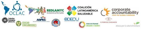 Logotipos de las organizaciones latinoamericanas pro derechos del consumidor, la infancia y la salud que exigen a FIFA retirar patrocinios de productos no saludables del Mundial de futbol Rusia 2018