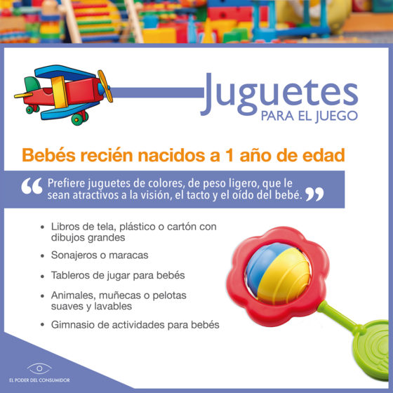 Infografía Guía de juguetes para niñxs de recién nacidos a 1 año