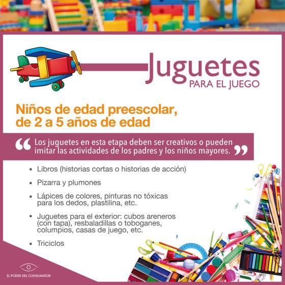 Infografía Guía de juguetes para niñxs de 2 a 5 años