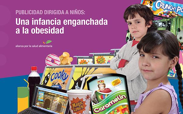 """Banner de la portada del documento """"Publicidad dirigida a niños: una infancia enganchada a la obesidad"""" de la Alianza por la Salud Alimentaria, de la que El Poder del Consumidor forma parte"""