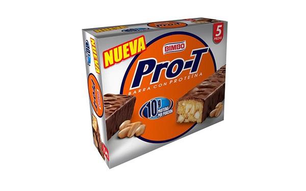 Caja con cinco piezas de Pro-T barra con proteína de Bimbo