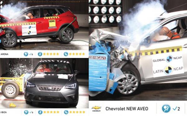 Imágenes de la pruebas de choque del Nuevo Aveo de General Motors y del Ibiza y Aroma de Seat