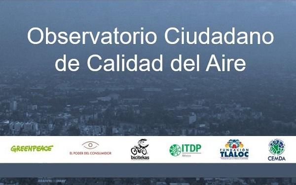 Imagen panorámica de una ciudad con contaminación ambiental con la leyenda Observatorio Ciudadano de Calidad del Aire y los logos de las organizaciones civiles que lo componen