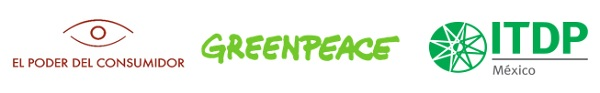 Logos de las organizaciones Greenpeace, El Poder del Consumidor e ITDP México