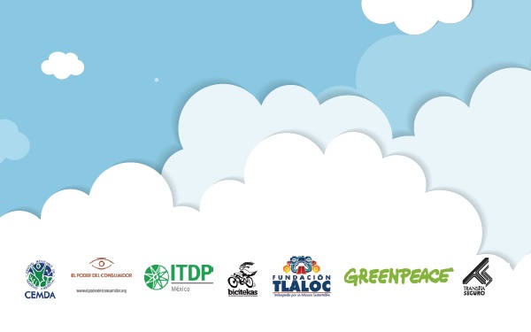 Ilustración de un cielo limpio con nubes y los logos de las organizaciones que suscriben este pronunciamiento y documento
