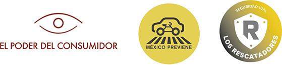 Logos de las organizaciones El Poder del Consumidor, Refleacciona con Responsabilidad y México Previene