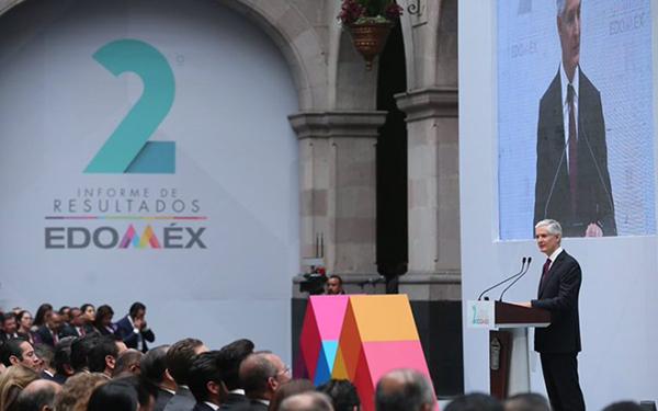 Imagen del 2do Informe de gobierno del Estado de México, rendido por el gobernador Alfredo del Mazo