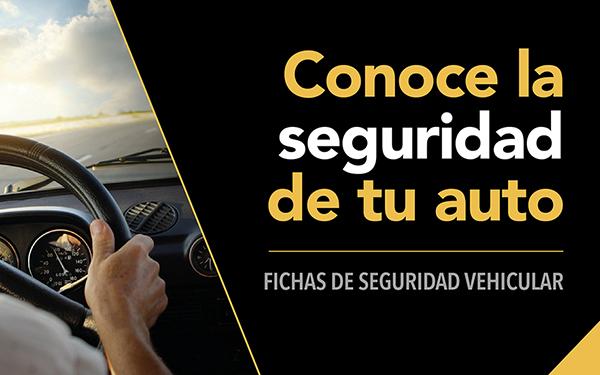 Banner con la leyenda Conoce la seguridad de tu auto y liga a las fichas de seguridad vehicular del sitio Qué tan seguro es tu auto