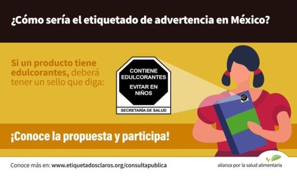 Banner que ejemplifica cómo sería el etiquetado de advertencia en México