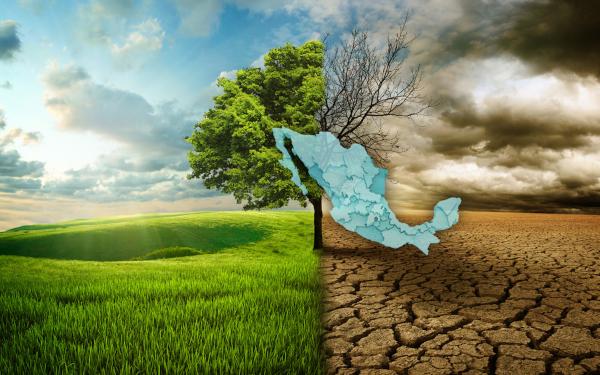 Ilustración del fenómeno del cambio climático en México: un paisaje verde y vital, por un lado, en contraste con el mismo paisaje pero desértico y oscuro, por otro lado, con un mapa de México