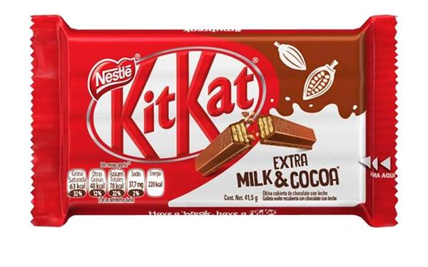 Kit Kat de Nestlé, oblea cubierta de chocolate con leche (16.7 gramos)