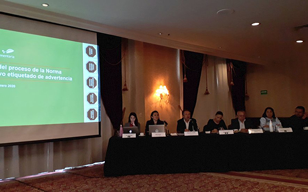 Conferencia de prensa donde se dieron a conocer estos pronunciamientos en torno a la NOM-051 sobre el etiquetado de advertencia en alimentos y bebidas