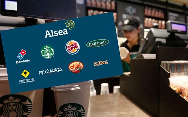 Trabajadores detrás de mostrador de un Starbucks e imagen con logos de algunos restaurantes de Alsea