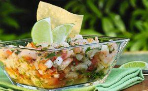 Tazón con Ceviche de pescado en la mesa sobre una servilleta de trapo