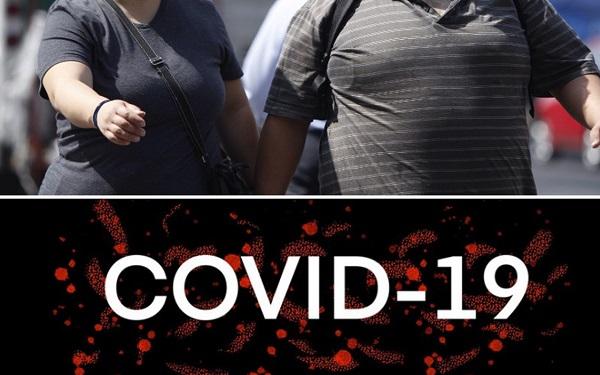 Arriba: una pareja de personas obesas, abajo: la leyenda Covid-19
