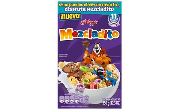 Mezcladito de Kellogg´s, cereal surtido: Zucaritas, Froot Loops, Corn Pops, Choco Krispis (caja de 350 gramos)