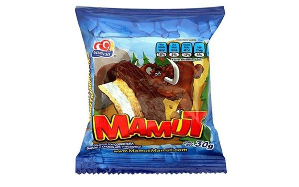 Mamut, galleta con cobertura sabor chocolate y malvavisco, de Gamesa (30 gramos, 1 pieza)