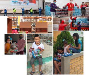 Fotografías diversas de las donaciones de la industria de alimentos y bebidas