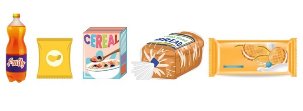 Ilustración de cinco productos ultraprocesados que han sido parte de las donaciones de la industria de alimentos y bebidas