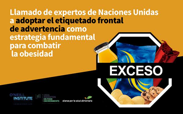 Banner del foro Llamado de expertos de Naciones Unidas a adoptar el etiquetado frontal de advertencia como estrategia fundamental para combatir la obesidad