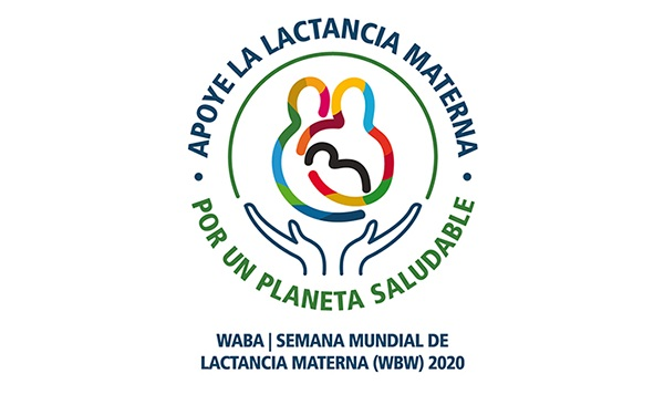 Logo de la Semana Mundial de la Lactancia Materna 2020, con las leyendas: Apoye la lactancia materna. Por un planeta saludable