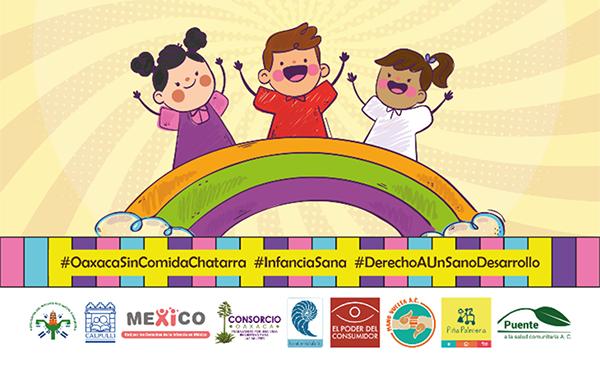 """Banner con ilustración de campaña """"Por el derecho a una alimentación sana y nutritiva"""" en Oaxaca, México"""