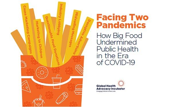 Portada del informe Enfrentando dos pandemias: cómo la gran industria de alimentos y bebidas socavó la salud pública en la era del COVID-19