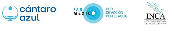 Logos de las organizaciones que lanzan la plataforma: la Red de Organizaciones de Acción por el Agua-FANMex, la asociación civil Cántaro Azul y el Inventario Nacional de Calidad de Agua-INCA