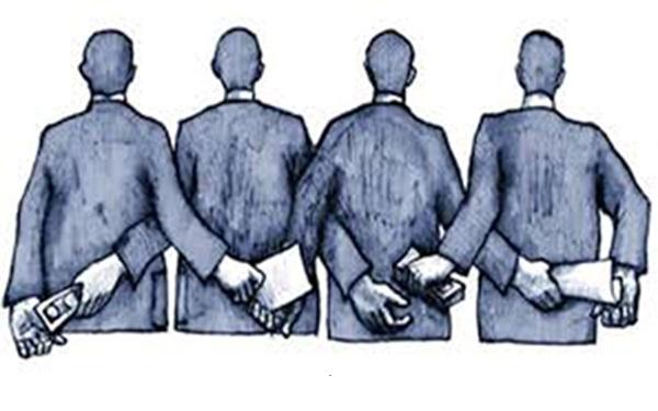 Ilustración de personas de espaldas que reciben, por un lado, documentos y, por otro lado, dinero