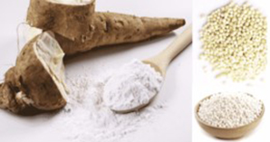 Yuca de donde se saca la tapioca y tapioca en forma de harina, hojuelas y perlas