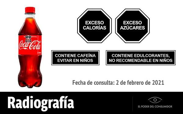Coca-Cola sabor original (600 ml) y sus sellos de etiquetado de advertencia