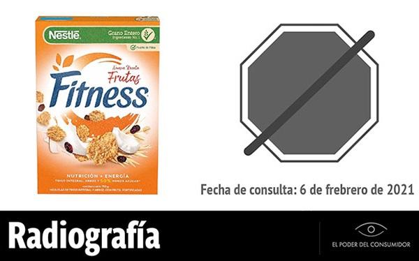 Banner de la radiografía del cereal de caja Fitness Frutas Nestlé