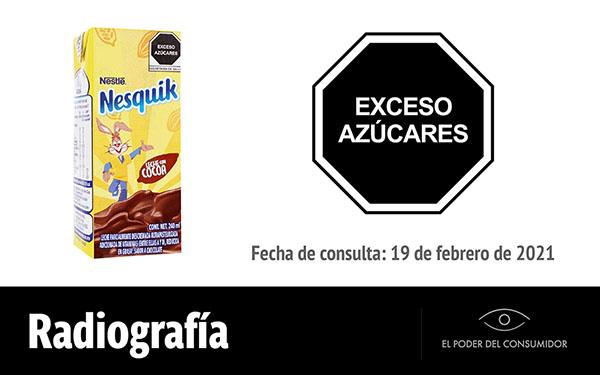 Banner de la radiografía de la lechita Nesquik leche con cocoa de Nestlé (envase, 240 mililitros)