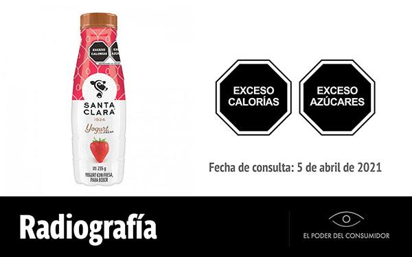 Banner de la radiografía de Yogur con fresa para beber Santa Clara (envase de 235 ml)