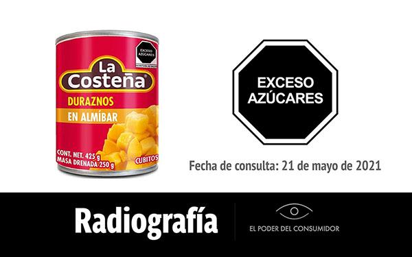 Banner de la radiografía de los Duraznos en almíbar La Costeña