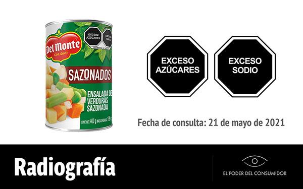 Banner de la radiografía de la Ensalada de verduras sazonadas Del Monte