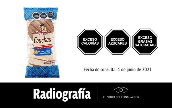Banner de la radiografía de Conchas Tía Rosa sabor a Vainilla y sabor a Chocolate (1 pieza, 60 gramos)