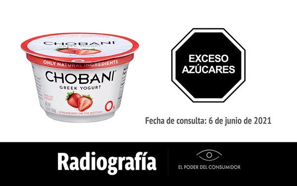 Banner de la radiografía del yogur griego con fresa Chobani (1 envase, 150 gramos)