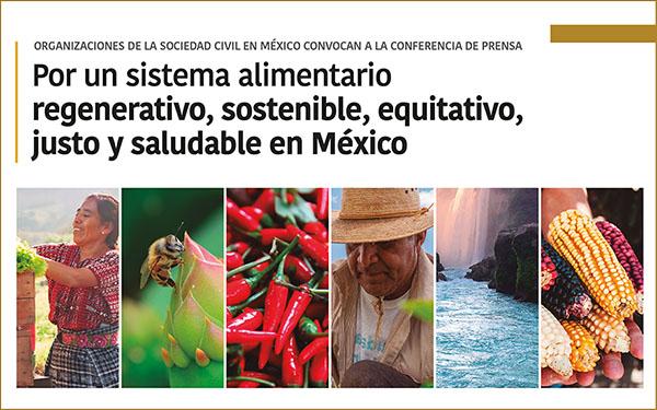 Banner de la convocatoria a la conferencia de prensa Por un sistema alimentario regenerativo, sostenible, equitativo, justo y saludable