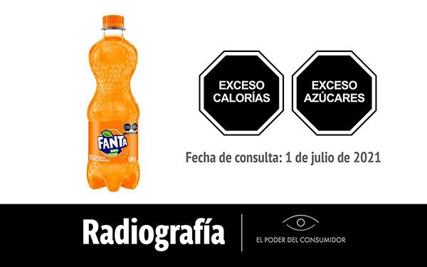 Banner de la radioigrafía de la Fanta, refresco o bebida azucarada sabor naranja, de Coca-Cola (600 ml)