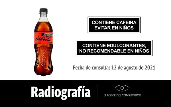 Banner de la radiografía de Coca-Cola Sin Azúcar (envase de 600 mililitros)