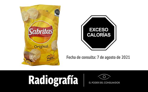 Banner de la radiografía de as papas fritas con sal Sabritas Original (bolsa de 45 gramos)