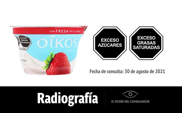 Banner de la radiografía del yogur con fresa Oikos, de Danone (1 envase de 150 gramos)