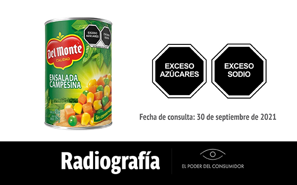 Banner de la radiografía de la lata de Ensalada Campesina del Monte
